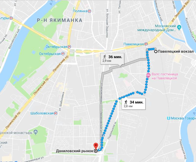 Пеший маршрут от Павелецкого вокзала к Даниловскому рынку.